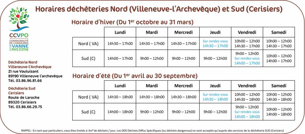 Horaires déchetteries Nord (Villeneuve l'Archevêque) et Sud (Cerisiers) de la Communauté de Communes de la Vanne et du Pays d'Othe (CCVPO)