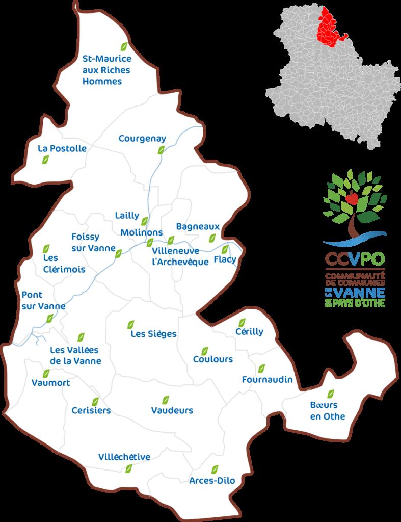 Les 22 communes de la Communauté de Communes de la Vanne et du Pays d'Othe